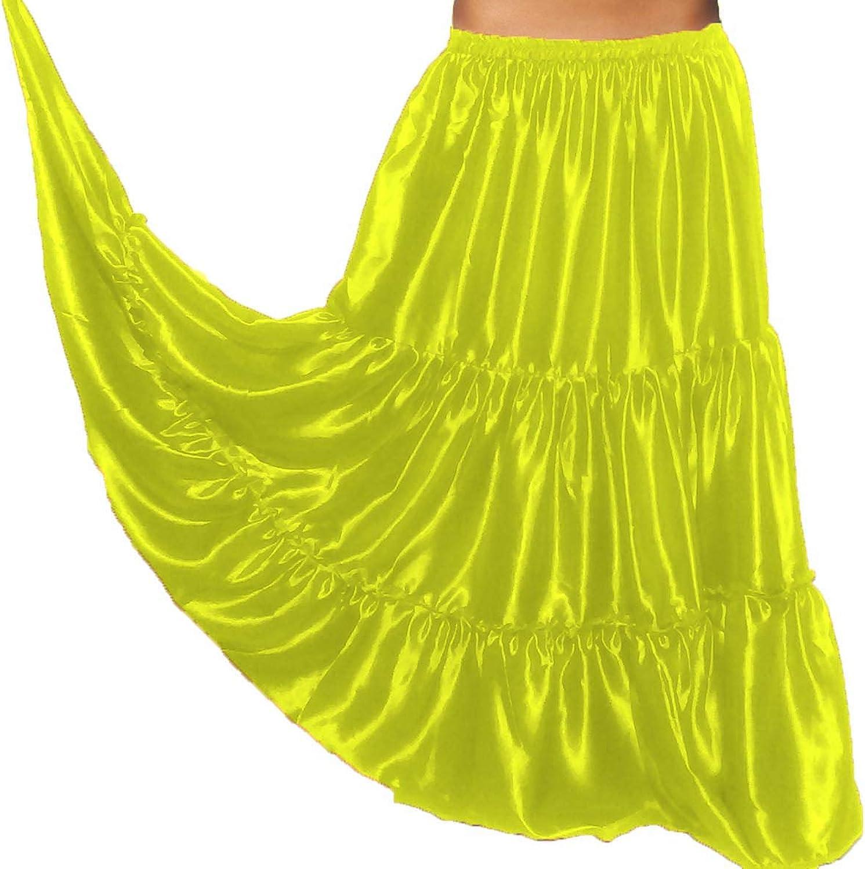 Meek Mercery Tribal Style Peasant Skirt Satin Belly Dance 8 Yard 3 Tiered Bohemian Skirt One Size S3