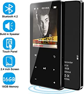 MP3 Player - Bluetooth 4.2 16GB Music Player with Speaker FM Radio Voice Recorder, 2.4'' Touch Screen Portable MP3 Player for Kids Digital Audio Player HiFi Lossless Sound, Support up to 128GB