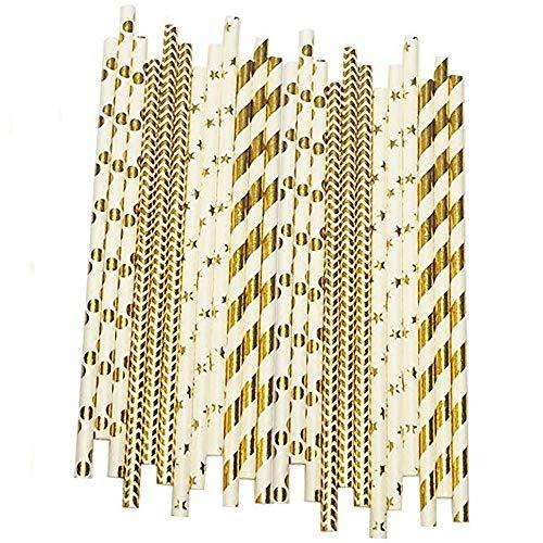 Cannucce di carta biodegradabili color oro, confezione da 100 cannucce a righe, ondulate, a pois, stelle, per compleanni, matrimoni, addii al nubilato, feste e feste