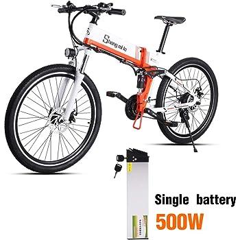 Shengmilo Bicicletas Electricas Bicicleta Plegable Montaña Electrica e Bike de Ciudad Moto Electrica Adulto Hombre Frenos de Disco Hidráulicos 250W/350W/500W 48V 12.8A 26 Pulgadas Shimano 21 Velocidad: Amazon.es: Deportes y aire libre