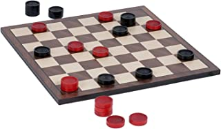 WE Games Old School Red and Black Wooden Checkers Set -12 in.