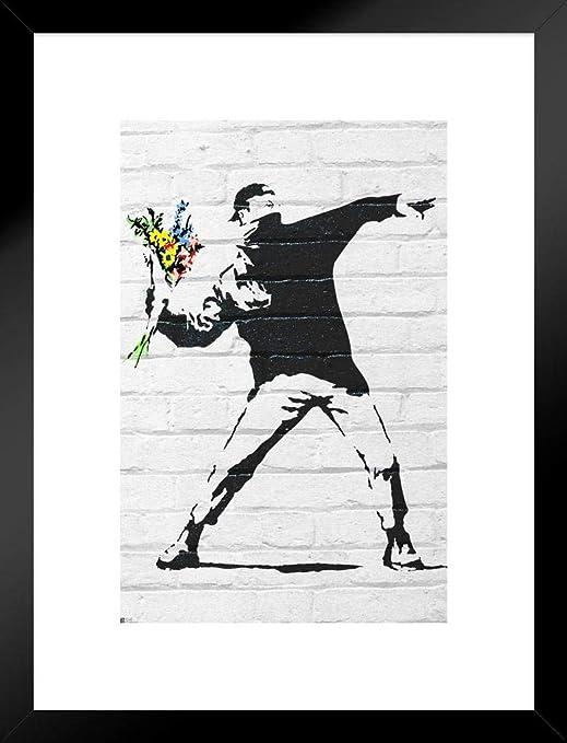 FULL COLOR BLACK BANKSY FLOWER BOMBER POSTER ART PRINT 24x36 FREE SHIP