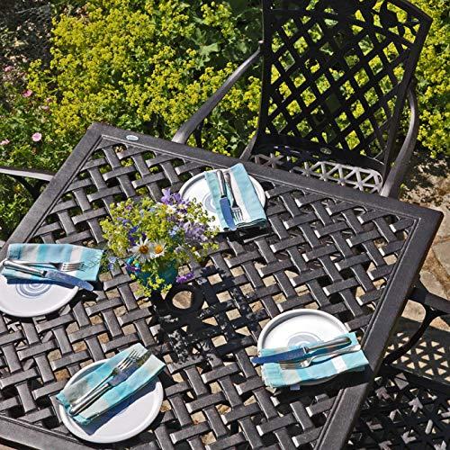 Lazy Susan - Lucy 91 cm Quadratischer Gartentisch mit 4 Stühlen - Gartenmöbel Set aus Metall, Antik Bronze (Rose Stühle)