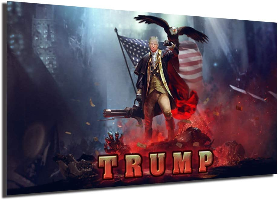 Patriotic 上品 Donalds Trumps Tank Poster Painting Canvas 保証 On Bedroom
