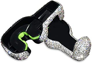 EING 2 Pcs Car Headrest Hanger Auto Back Seat Hook with Bling Crystal Rhinestones - Silver
