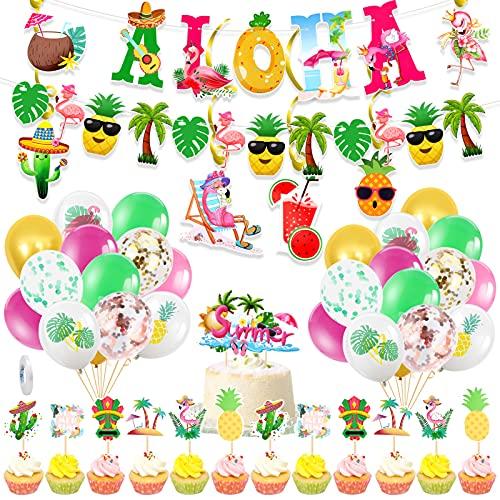 HOWAF 47pcs Hawaiana Tropical Fiesta Decoración, Aloha Pancarta Hawai Globos Tropical Remolinos Colgantes Hawaiano Tarta Decoración, Vistoso Verano Playa Luau Tiki Fiesta Decoraciones