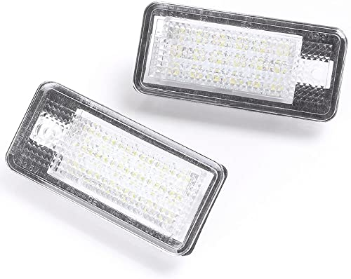 lowest Mallofusa online sale LED License Plate new arrival Light Lamp Replacement Compatible for Audi A3 A4 S4 A5 S5 A6 S6 A8 Q7 White 18SMD LED Lights 2PCS online sale