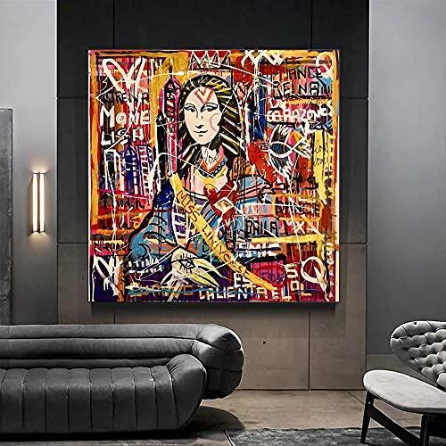 Diamond Painting Bordado de Punto de Cruz DIY 5D Diamante Pintura Completo Kit para decoración de Arte Pared del hogar Colorido Graffiti Mona Lisa,Diamante Redondo,80x80cm