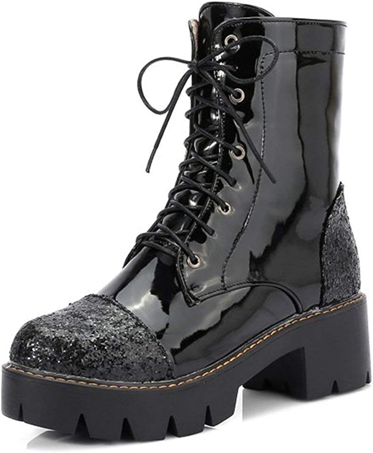 Unm Women's Glitter Sequins Thick Sole Lace Up Chunky Mid Heel Ankle Boots Platform Round Toe Booties