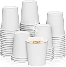 [50 Cups] 8 oz. White Paper Cups - Available in 4oz, 7oz, 12oz, 16oz- Disposable Hot/Cold Beverage Cup for Water, Juice, Tea