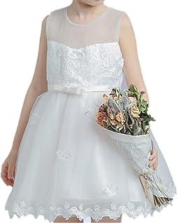 YOJAP 子供 ドレス ガールズ ワンピース キッズドレス フラワードレス ノースリーブドレス  結婚式 発表会 演奏会など 女の子ドレス?キッズ ドレス 花嫁介添人ドレス ピアノ発表会 子どもドレス