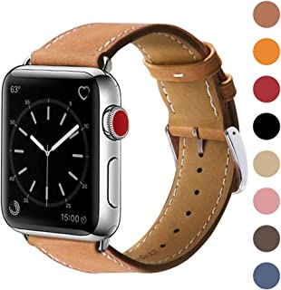 Marge Plus Compatible with Apple Watch Band 42mm 44mm, Genuine Leather Replacement Band Compatible with Apple Watch Series 5 4 (44mm) Series 3 2 1 (42mm) Sport and Edition, Brown