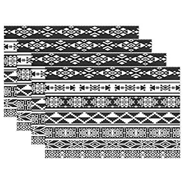 WOZO African and Mexican Aztec Tribal Placemat Table Mat, Classic Ethnic 12  x 18  Polyester Table Place Mat for Kitchen Dining Room Set of 4