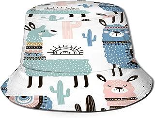 Fisherman Hat Cartoon Llama Cactus Plant Bucket Hat Unisex 3D Printed Packable Bonnie Cap UV Protect Lightweight Sun Hat for Picnic Hunting Fishing Golf Hiking