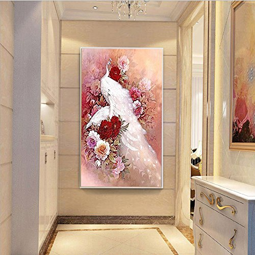 5D Diamond Painting kit Full Drill DIY Crafts Paint with Diamonds Set Mosaic Art Pictures 3D Round Crystal White Peacock Flowers Stamped Embroidery Counted Cross Stitch Wall Sticker for Home Décor