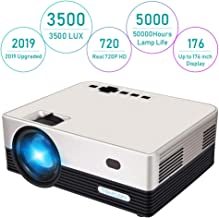 Projector, Tontion 3500 Lux Video Projector Real 720P -50,000 Hour LED Full HD Mini Projector, Compatible with Amazon Fire TV Stick, HDMI, VGA, USB, AV, SD for Home Theater