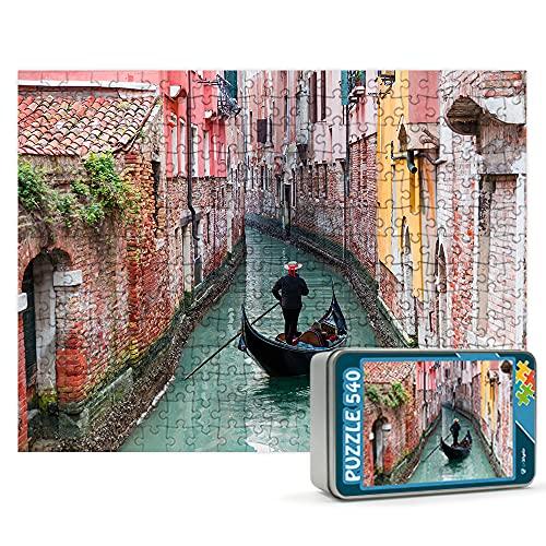 Puzzles personalizados 540 piezas con foto y texto   Máxima calidad de impresión   Diferentes tamaños disponibles (9 a 2000 piezas)   Tamaño: 540 piezas (50 x 34,5 cm) - Con caja personalizada