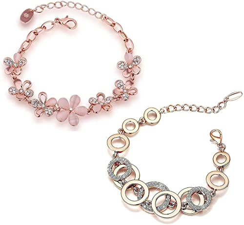 YouBella Jewellery Designer Crystal Combo of Bracelets for Women Stylish Bangles Jewellery for Girls and Women