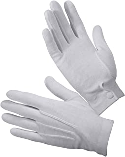 12 Pairs Cotton Parade Gloves with Snap Back Formal Tuxedo Honor Guard White Gloves
