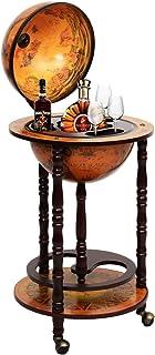 Costway Bar Globe Terrestre Vintage, Mappemonde en Bois d'Eucalyptus, Porte-Bouteilles 16e Siècle, Ajout Une Décoration Ru...
