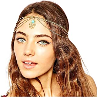 deladola Boho Layered Head Chain Gold Turquoise Headpiece Palm Vintage Beach Fashion Party Festival Multilayer Hair Access...