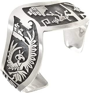 Navajo Storyteller Bracelet Overlaid Sterling Silver Cuff 3339