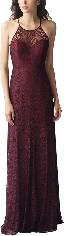 Beauty Bridal Women's Halter Evening Dresses Lace Aline FloorLength Bridesmaid Dress L062