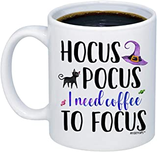 MyCozyCups Funny Fall Mugs For Women - Hocus Pocus I Need Coffee To Focus Mug - Cute Autumn Halloween 11oz Cup For Best Friend, Sister, Witches, Ghosts, Monsters, Her - Sarcastic Teacup For You
