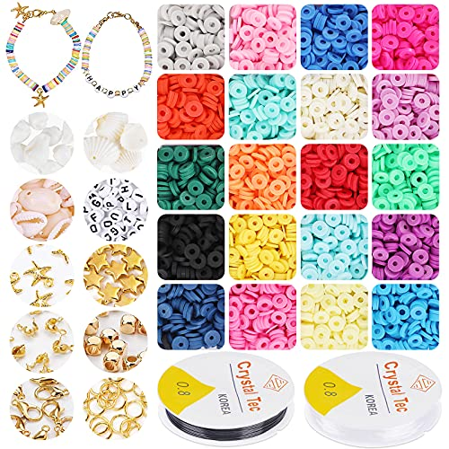 5500+ Pcs Polymer Clay Spacer Beads, 6mm Flat Round Heishi Beads Handmade Colorful Beads Set for DIY Jewellery Earring Necklace Bracelet Craft Making with 210 Pcs Letter Round Beads A-Z