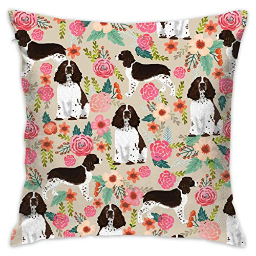 Lsjuee Decorative Throw Pillow Cover for Bedroom Couch Sofa English Springer Spaniel Pillowcase Pillow Cover Cushion Cover 18 x 18 Inches