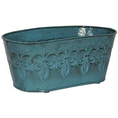 Robert Allen MPT01896 Fleur De Lis Series Metal Oval Planter Flower Pot, 10 , Color Surf Blue