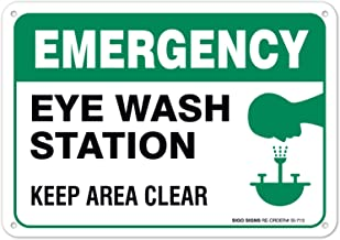 Eye Wash Station Sign, Emergency Sign, 10x7 Rust Free Aluminum, UV Printed, Easy to Mount Weather Resistant Long Lasting Ink Made in USA by SIGO SIGNS