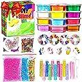 KiddosLand Crystal Slime Kit Slime Supplies for Girls Boys Clear Slime for Kids with Glitter Jar Foam Bead and Unicorn Toys for Slime Making kit Aged 6+