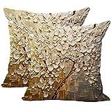 JOTOM - Funda de cojín de lino y algodón suave, 2