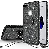 Galaxy Wireless Cases for New iPod Touch 7 Case, iPod 6/5 Case Glitter Bling Sparkle Ring Stand Case Compatible for Apple iPod Touch 5/6th/7th/New iPod Touch - Black