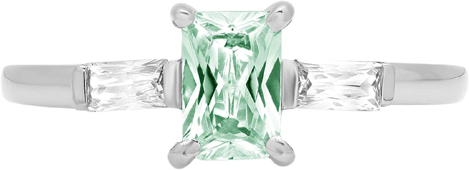 1.1 Emerald Baguette cut 3 stone Solitaire with Accent Stunning Genuine Flawless Simulated Blue Moissanite Modern Promise Statement Designer Ring 14k White Gold