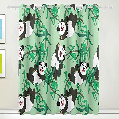 TIZORAX Pandas Bambus-Vorhänge, Raumverdunkelung, isoliert, für Wohnzimmer, Schlafzimmer, 139,7 x 213,4 cm, Set mit 2 Paneelen