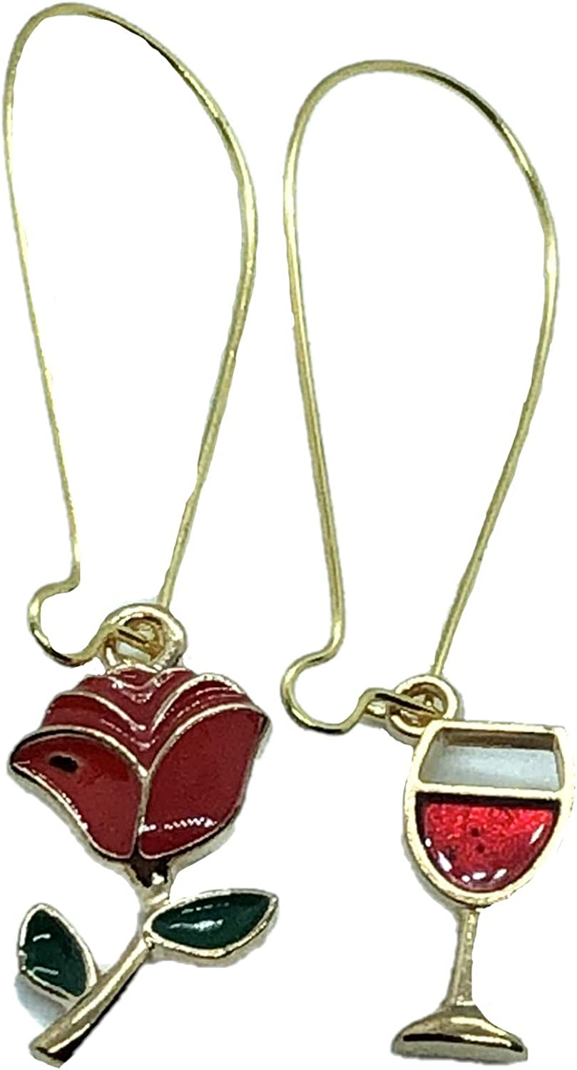 Romantic Rose & Red Wine Glass - Party Dangling Earrings
