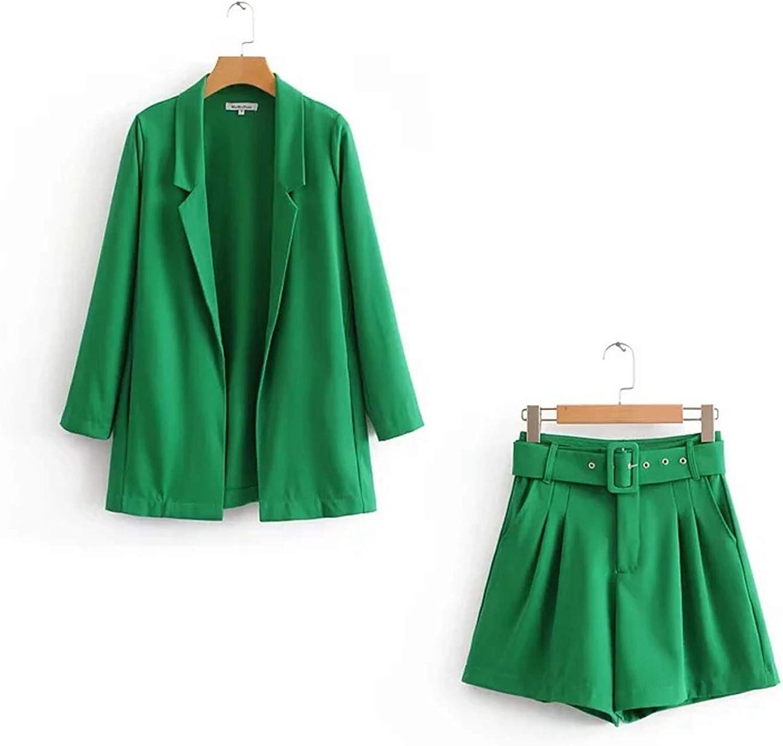 New Blazers Pants Suit Solid Simple 2 Two Piece Set Slim Cardigan Jacket + Pants Suit with Belt Street Wear Women Causul Suit
