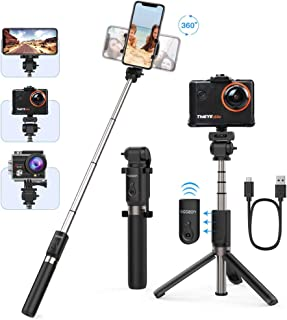 Yoozon Palo Selfie Trípode Palo extensible de autofoto 3 en 1 Selfie Stick Deportivo Portátil con Control Remoto Bluetooth y Rotación 360 para Viaje Autofoto Gopro Cámara de acción y teléfonos