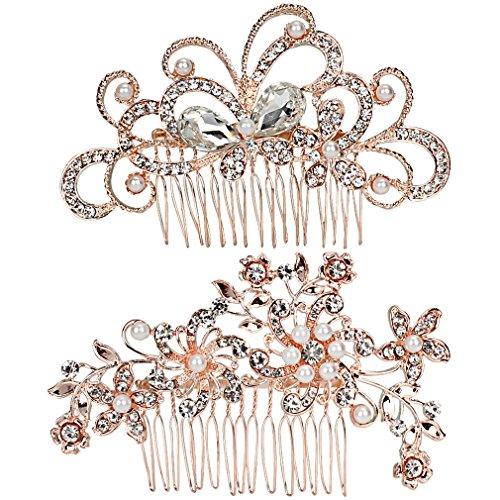 Jaciya 2 Pack Bridal Wedding Hair Comb Crystal Rhinestones Pearls Women Hair Side Combs Bridal Headpiece, Rose Gold