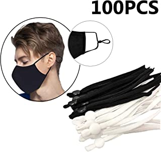 Elastic Band Cord for Sewing Crafting with Adjustable Buckle Stretchy Mask Earloop Lanyard Earmuff Rope DIY Mask Making Supplies 100 Pieces White B-Flat Buckle