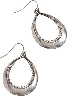 Silver Jeans Co. Women's Silver Jeans Co. Rhinestone Teardrop Hoop Earring