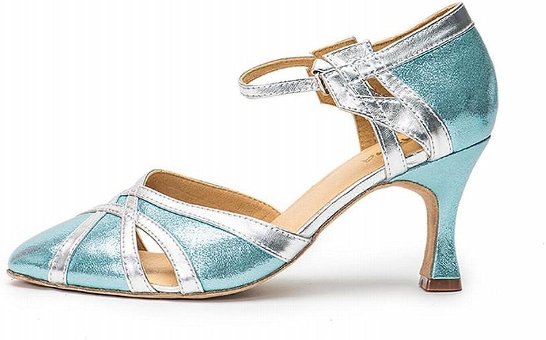 BYLE Leder Sandalen Riemchen Samba Modern Jazz Dance Schuhe Nach Satin PU Leder Unten mit Latin Dance Schuhe Weiblichen High Heel Blau Silber