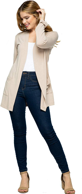 Lotiful Women Long Sleeve Open Front Lightweight Drape Rayon Casual Pocket Cardigan Sweater