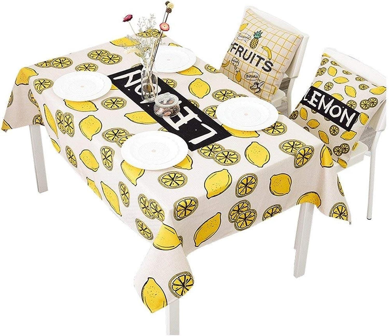 Nappe HabilleHommest De Thé en Coton Et Lin Rectangulaire mode Ronde Toile De Restaurant Imprimée Dessin Animé (Couleur   jaune, Taille   140  200cm)