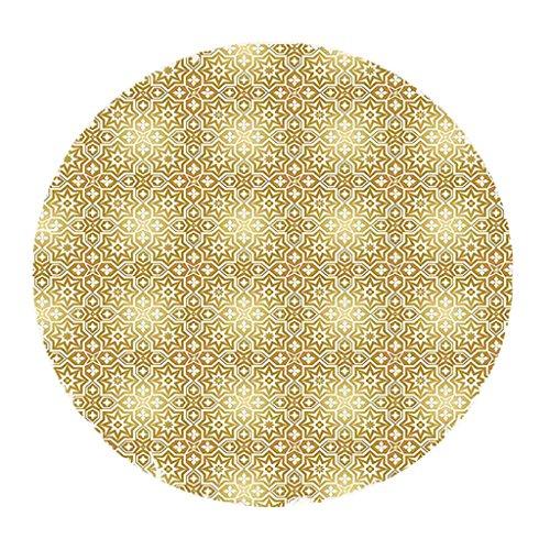 HomeDecTime Mantel redondo de 59 pulgadas con borde elástico ajustable de vinilo, patrón de color dorado, decoración de mesa impermeable