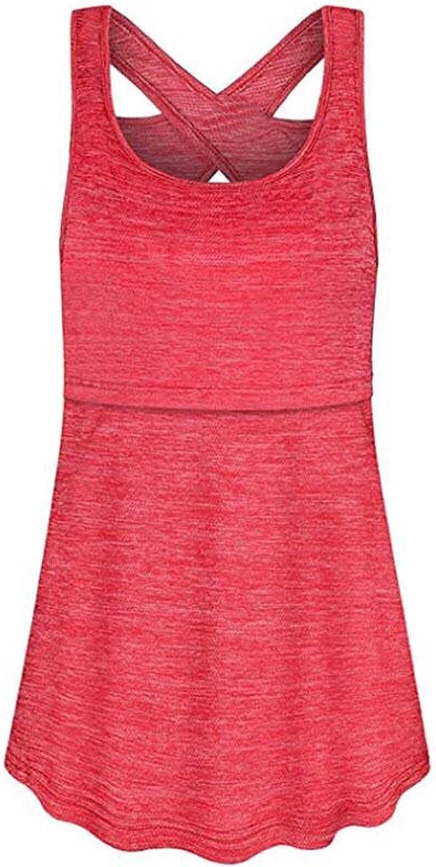 GOODTRADE8 Pregnant Women Maternity Clothes for Breastfeeding Sleeveless Vest Tops T-Shirt