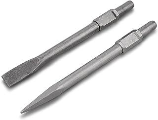 Tooluxe 02625 Demolition Jack Hammer Bit Set, Chromium-Vanadium Steel Flat Tip and Bull Point Chisels
