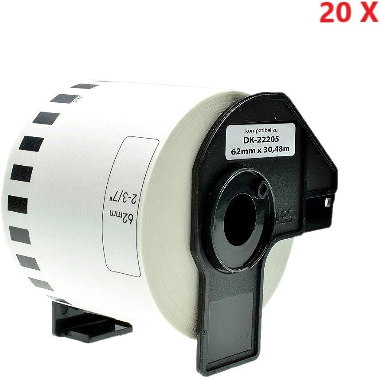 20 x Azprint Endlosetiketten Endlosetiketten Endlosetiketten Papier Kompatibel für Brother DK22205 DK-22205 (62mm breit, 30,48m lang) für Brother P Touch QL-Etikettendrucker QL500 QL550 QL560 QL570 QL580N QL650TD QL700 QL720NW QL1050 QL1060N   Thermopapier mit Kunststoffhalter f69e91